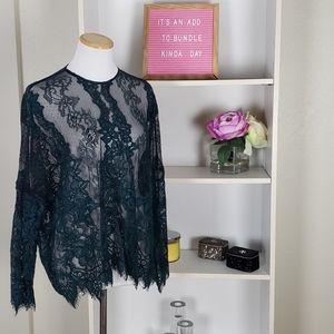 Zara Green Black Lace Top SZ XS